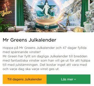 Julkalender 2019 hos Mr Green Casino!